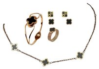 Chlo Clover Necklace 2 Earring Sets, Ring and Bracelet 14K Rose Gold Plated