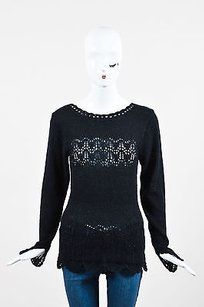 Chlo Chloe Metallic Crochet Sweater