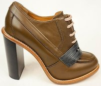 Chloé Chloe Leather Lace Up Oxford Ankle Heels Eu40 Tan / Gray Boots