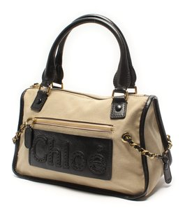 Chloé Gold Hardware Gold Chain Canvas Leather Satchel in Brown
