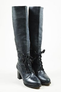 Chloé Chloe Gray Leather Lace Up Black Boots