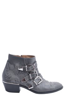 Chlo Leather Studded Grey Boots