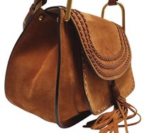 Chloé Leather Trims Camel Suede Shoulder Bag