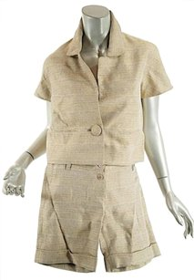Chloe Chloe,Tangoldbrown,Striped,Tweed,Silkcotton,Suit,Jacket,Wshorts-34us,46