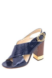 Chloé Chloe Navy Crackled Blue Pumps