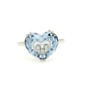 Chopard Chopard 18k White Gold So Happy Diamond Blue Heart Shaped Ring-size