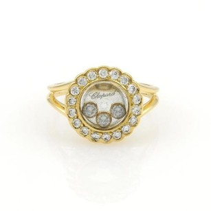 Chopard Chopard Happy Diamond 18k Yellow Gold Diamond Bezel Round Ring