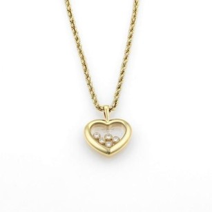Chopard Chopard Happy Diamond 18k Yellow Gold Heart Pendant Rope Chain Necklace