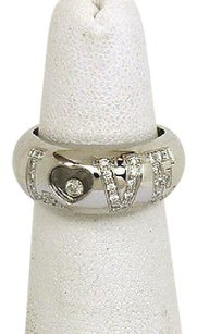 Chopard Chopard Happy Diamond 18k White Gold Floating Diamond Love Dome Shape Band Ring