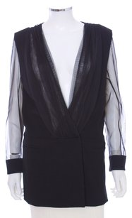 Christian Cota Silk Sheer Illusion Coat Black Blazer