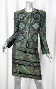 Christian Lacroix Christian Lacroix Womens Green Silk Jacquard Jacket Skirt Suit 10s