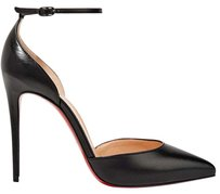 Christian Louboutin Ankle Strap Uptown 100mm Classic Pointed Toe Black Pumps