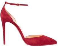 Christian Louboutin Ankle Strap Uptown 100mm Classic Pointed Toe Red Pumps