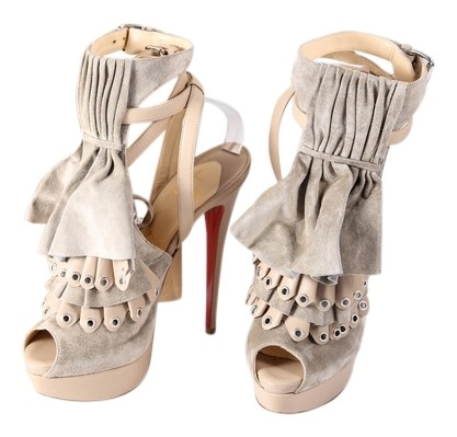 Christian Louboutin Beige Misfit Suede Sandals Platforms Size US 9.5 Regular (M, B)