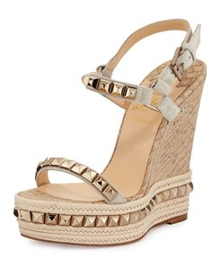 Christian Louboutin Beige/Taupe with Gold Wedges