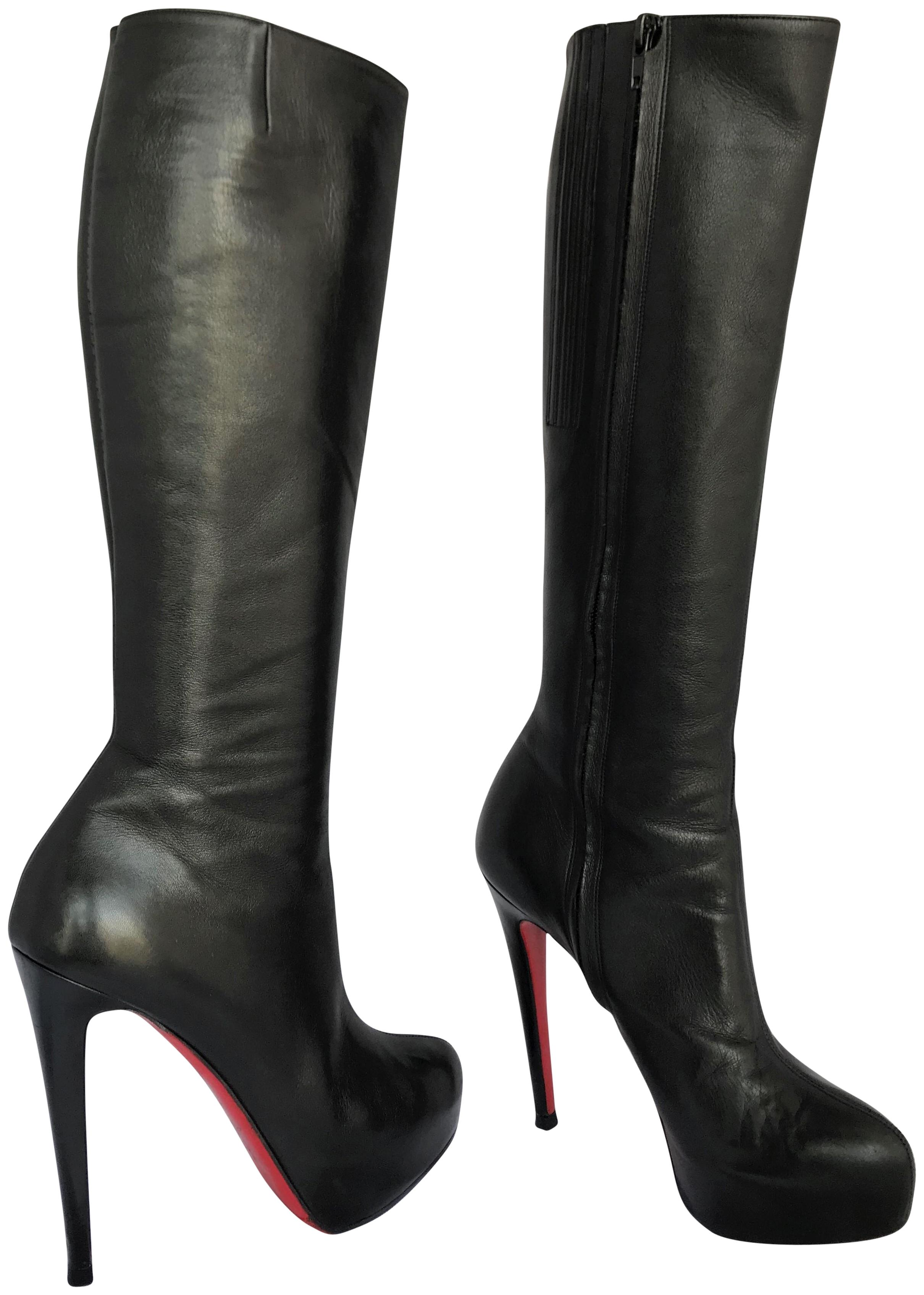 Christian Louboutin Black 38 It Heel Alti Lady Fashion Ankle Red Sole Toe Zip Leather Knee High Boots/Booties Size US 8 Regular (M, B)