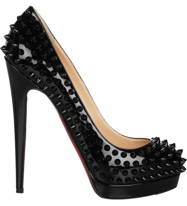 christian louboutin pigalle spikes red sole pump black