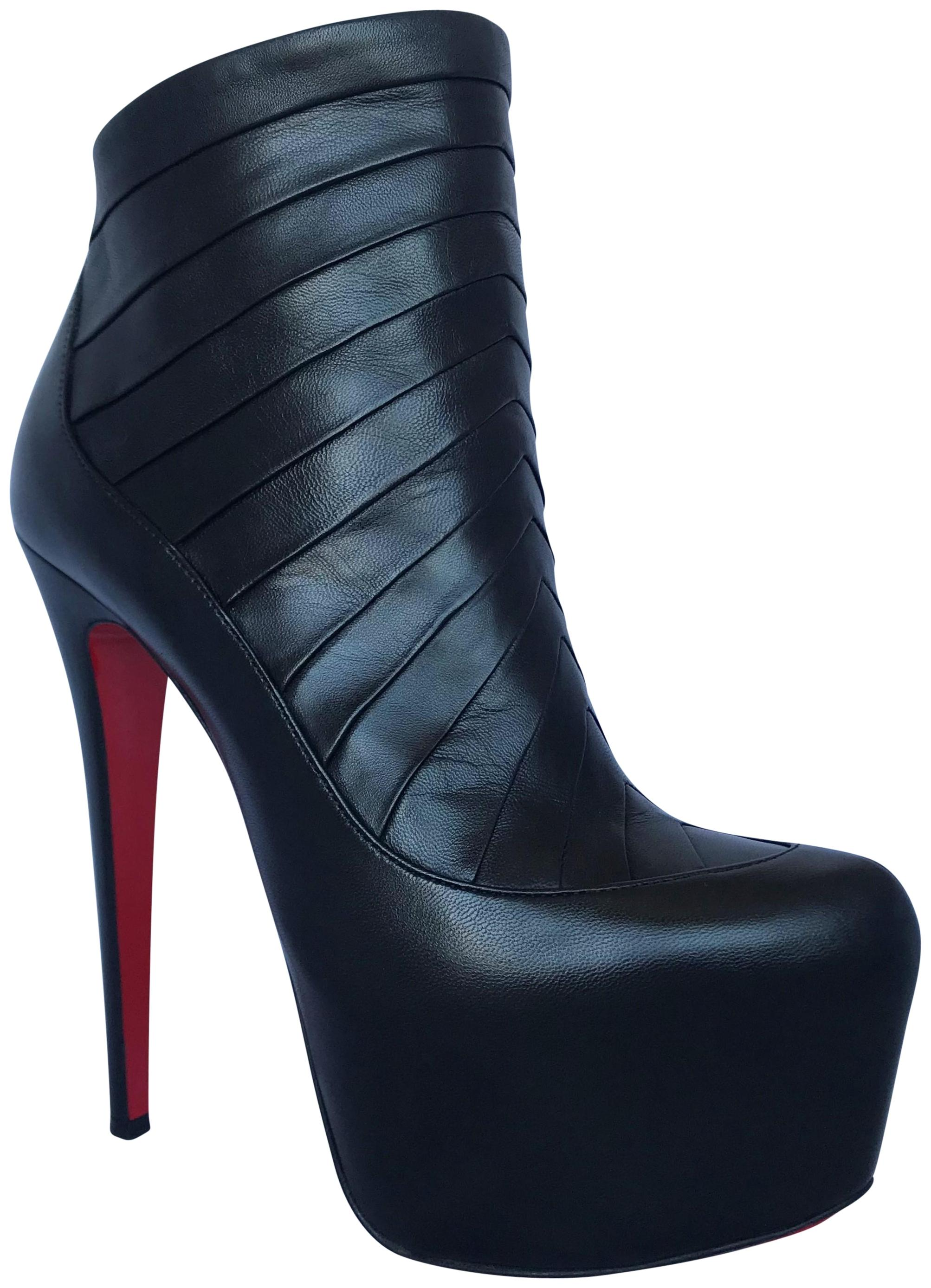 Christian Louboutin Black Amor 37it Platform High Heel Lady Toe Daf Red Sole Leather Ankle Boots/Booties Size EU 37 (Approx. US 7) Regular (M, B)