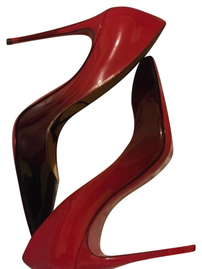 Christian Louboutin Black and Red Pigalle Follies 100 Patent Degrade Pumps Size US 7.5 Regular (M, B)