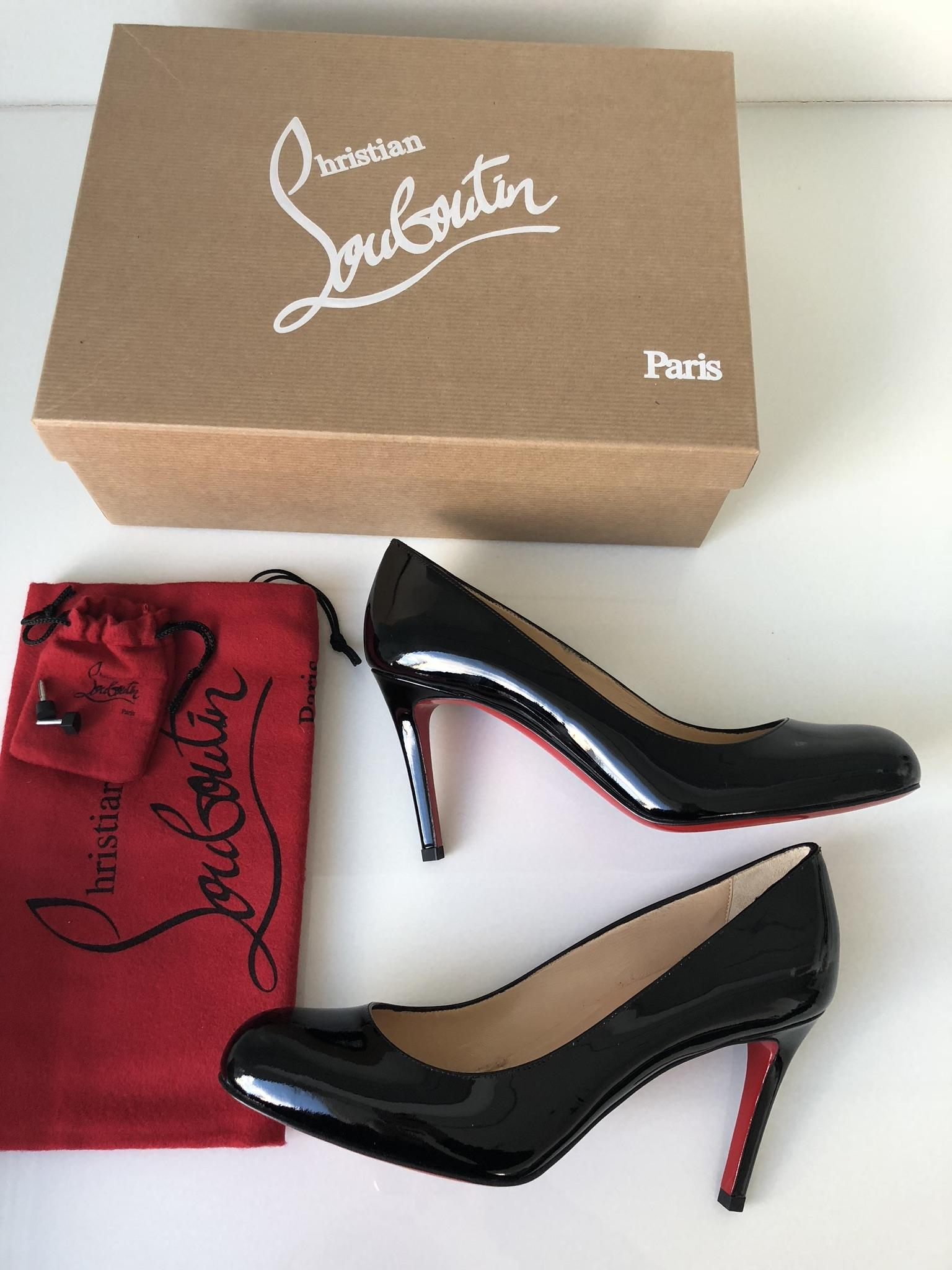 4cda5ead73 ... Christian Louboutin Black Classic Simple 85 Patent Patent Patent  Leather Round Toe Pumps Size EU 36 ...