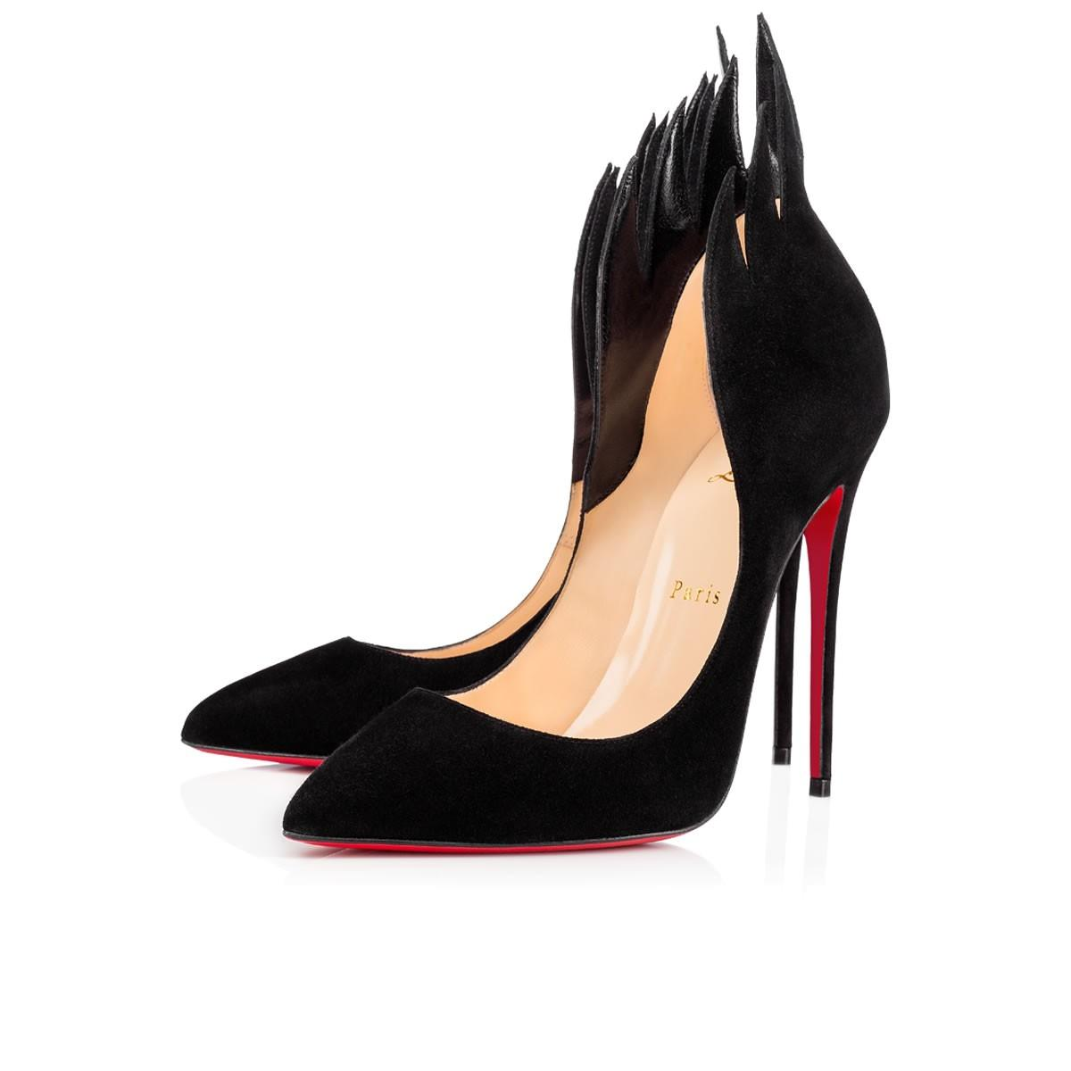 Christian Louboutin Black Classic Victorina 100mm Flame Suede Leather Carmin Point-toe Pumps Size EU 36 (Approx. US 6) Regular (M, B)