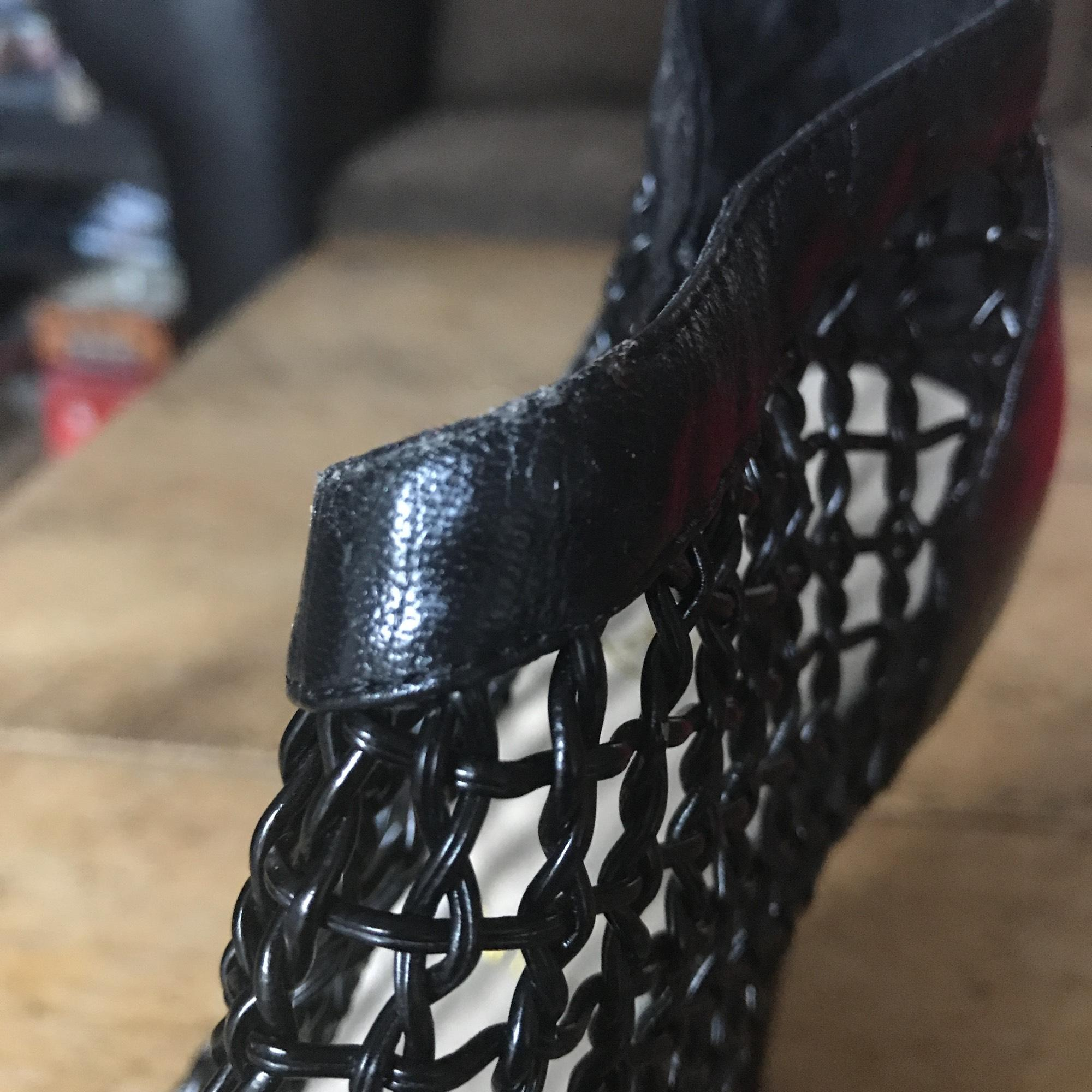 071cfa4a7290 canada christian louboutin coussin caged ankle boots black ink 9779c ...