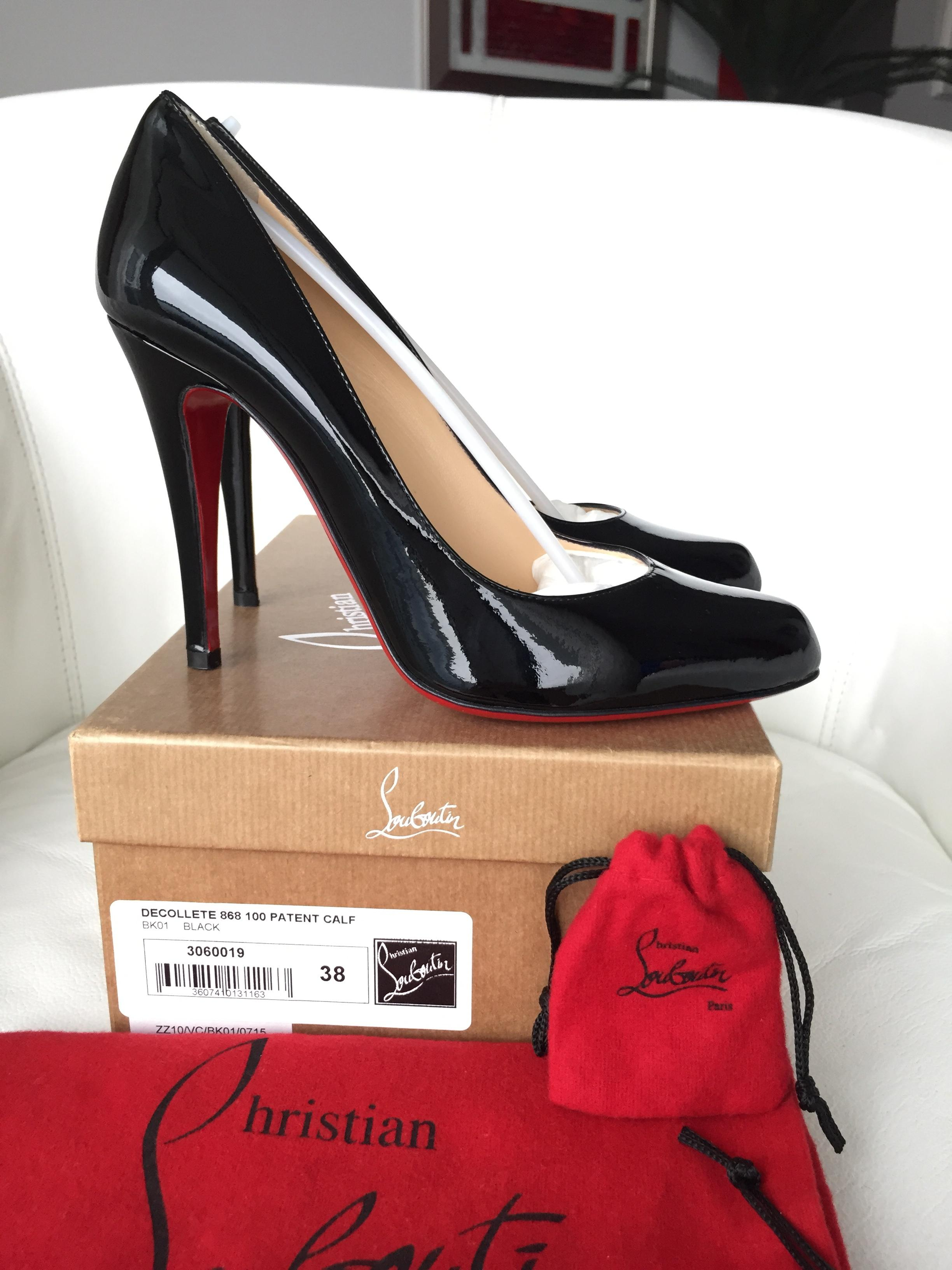 Christian Louboutin Black Decollete 100 Patent Leather Pumps Size US 8 Regular (M, B)