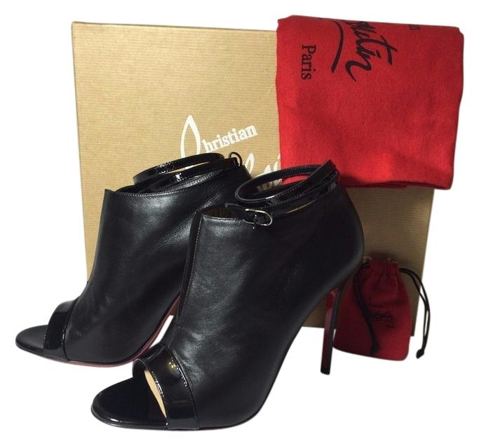 Christian Louboutin Black Diptic 100 Open Toe Nappa Leather Euro 36.5/Us6 Boots/Booties Size US 6