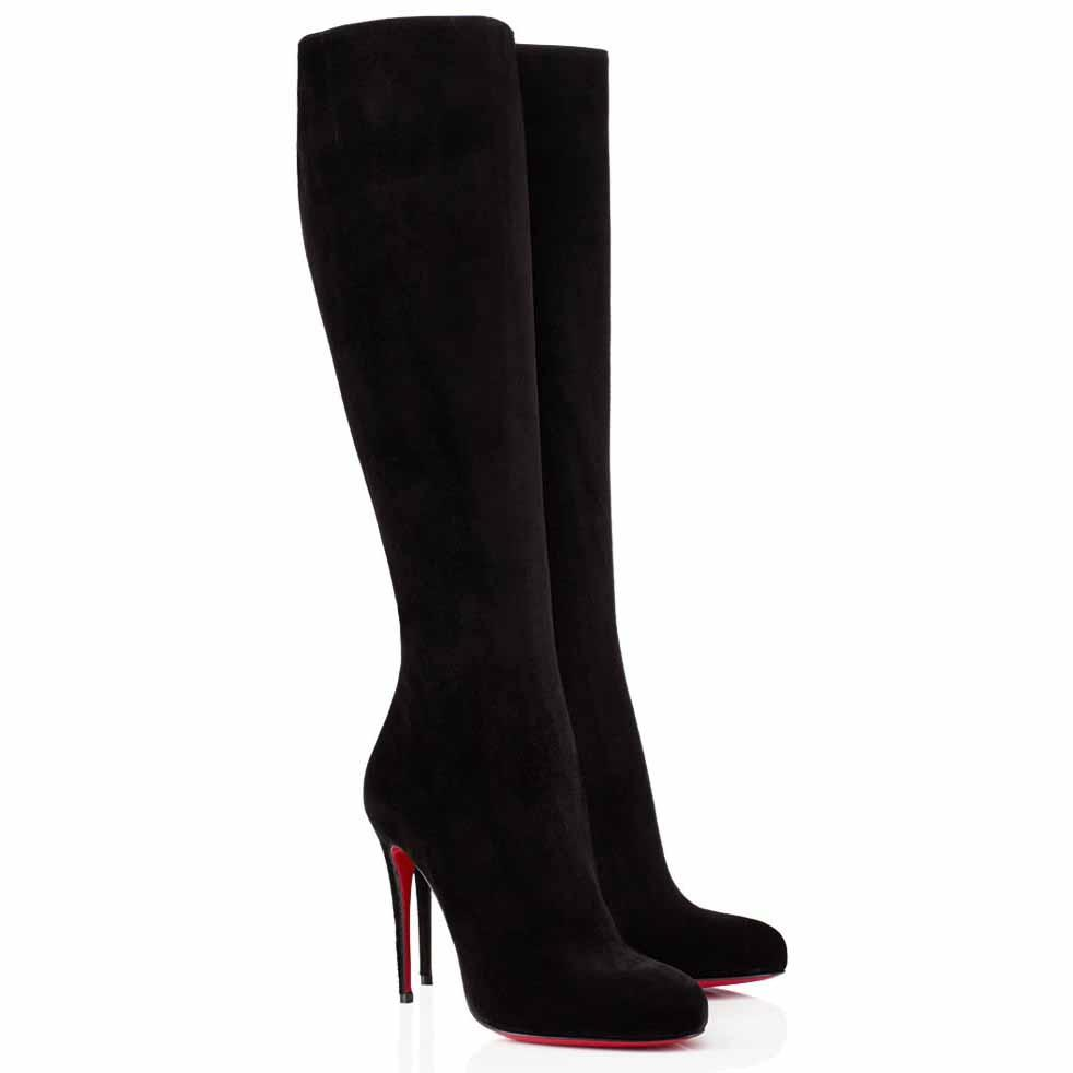 Christian Louboutin Black Fifi Botta 100 Suede Knee High Zipper Heel Boots/Booties Size EU 36 (Approx. US 6) Regular (M, B)