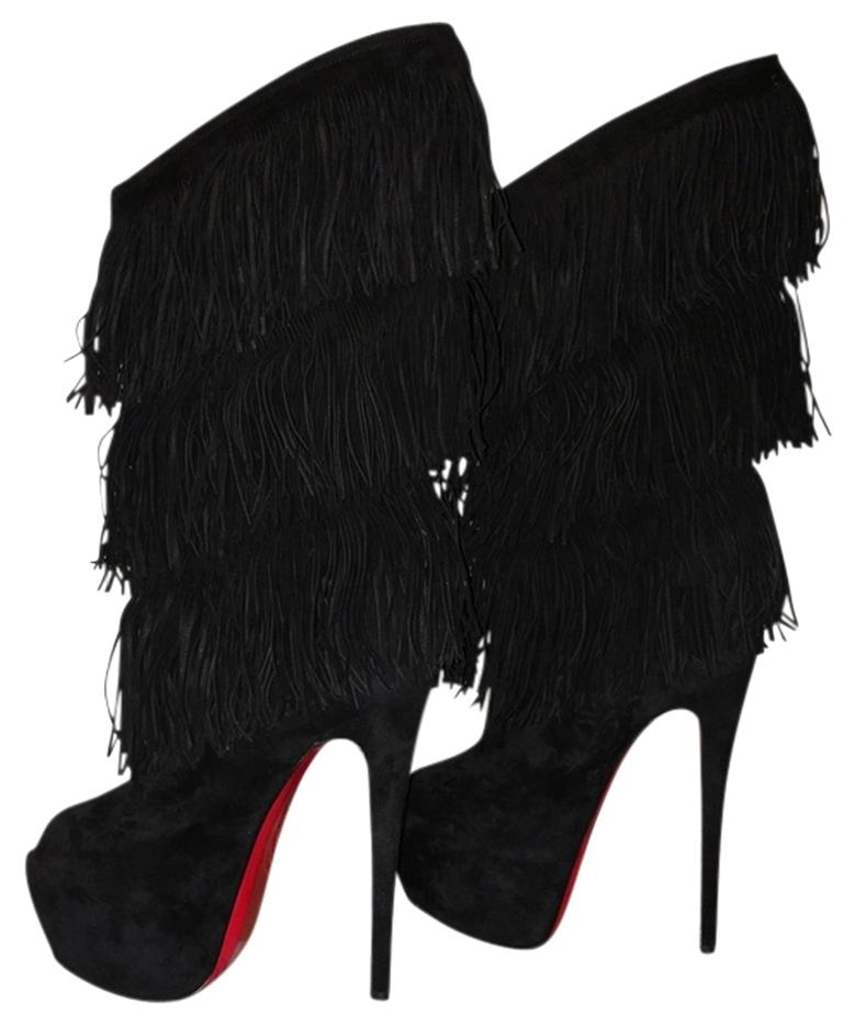 christian louboutin fringe suede booties