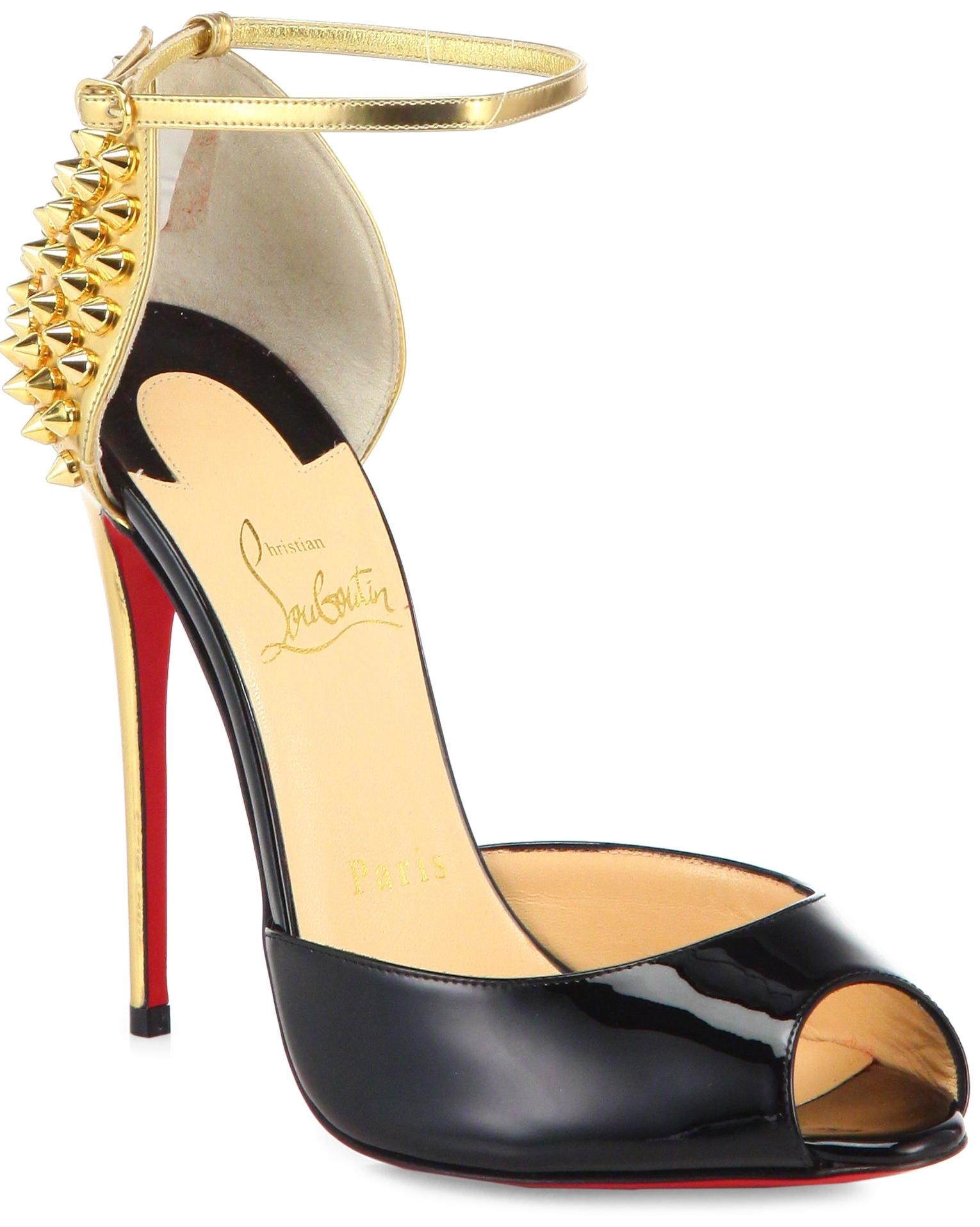 Christian Louboutin Black Gold New Pina Spike Patent Leather Spiked Strappy Sandal 38 Pumps Size US 8