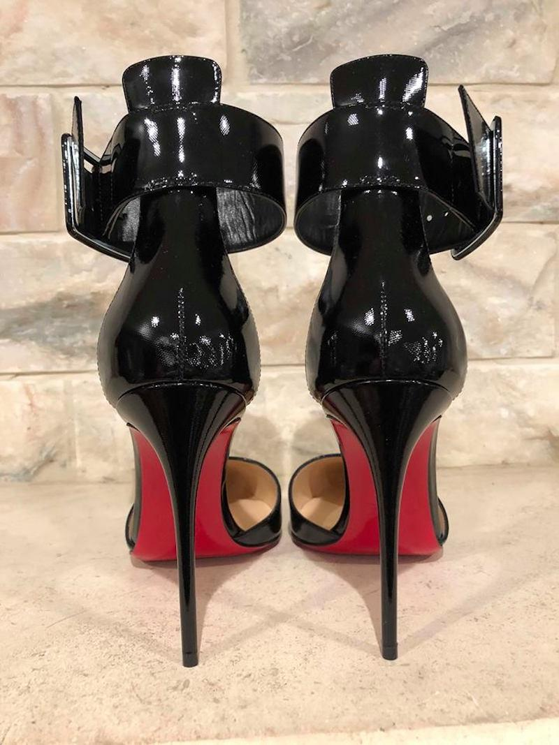 f73fb9608ae Christian Louboutin Black Harler 100 Patent Ankle Strap Heel Pumps Size EU  38 (Approx. US 8) Regular (M