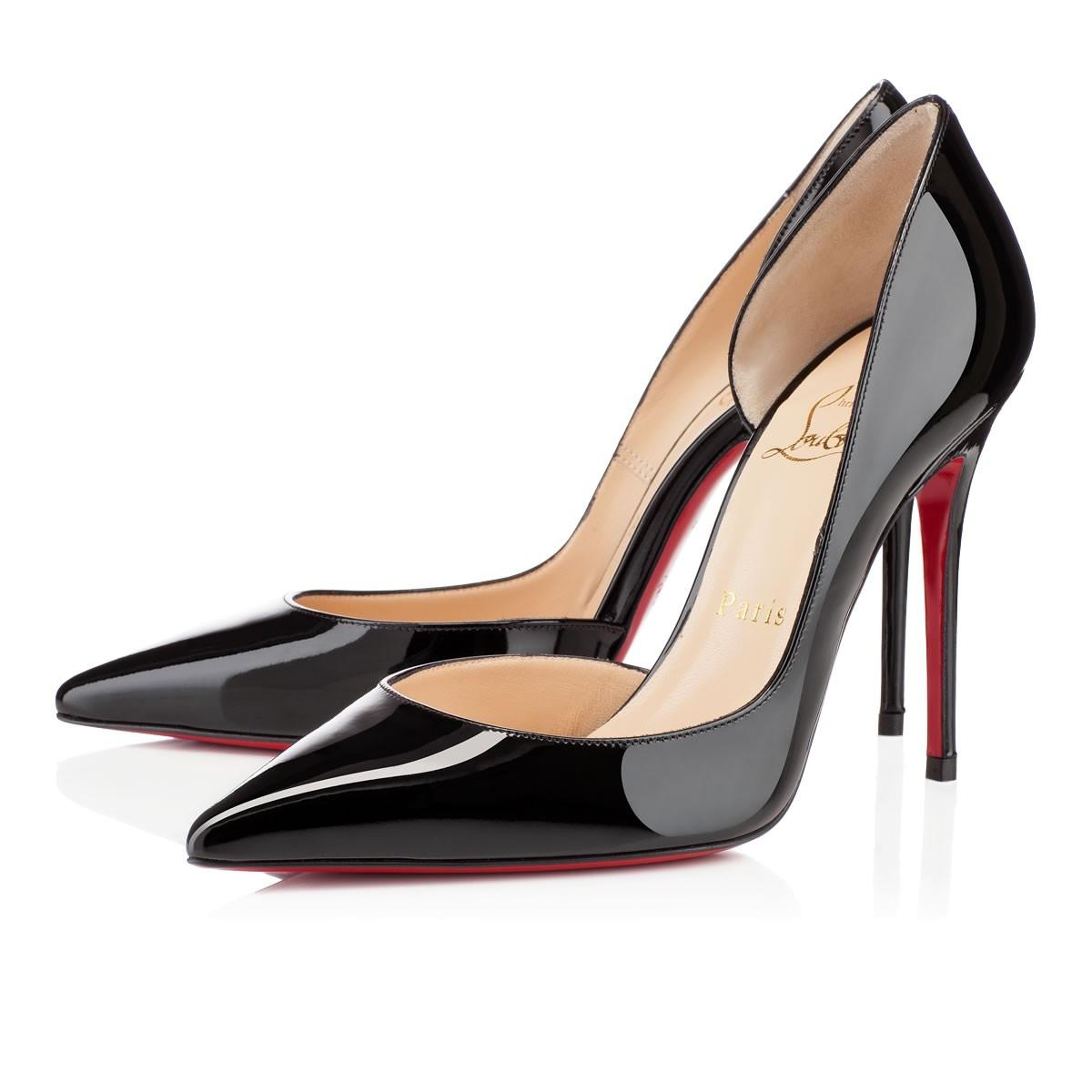 Christian Louboutin Black Iriza 100 Patent Leather Classic D'orsay Stiletto Cut Out Heel Pumps Size EU 41 (Approx. US 11) Regular (M, B)
