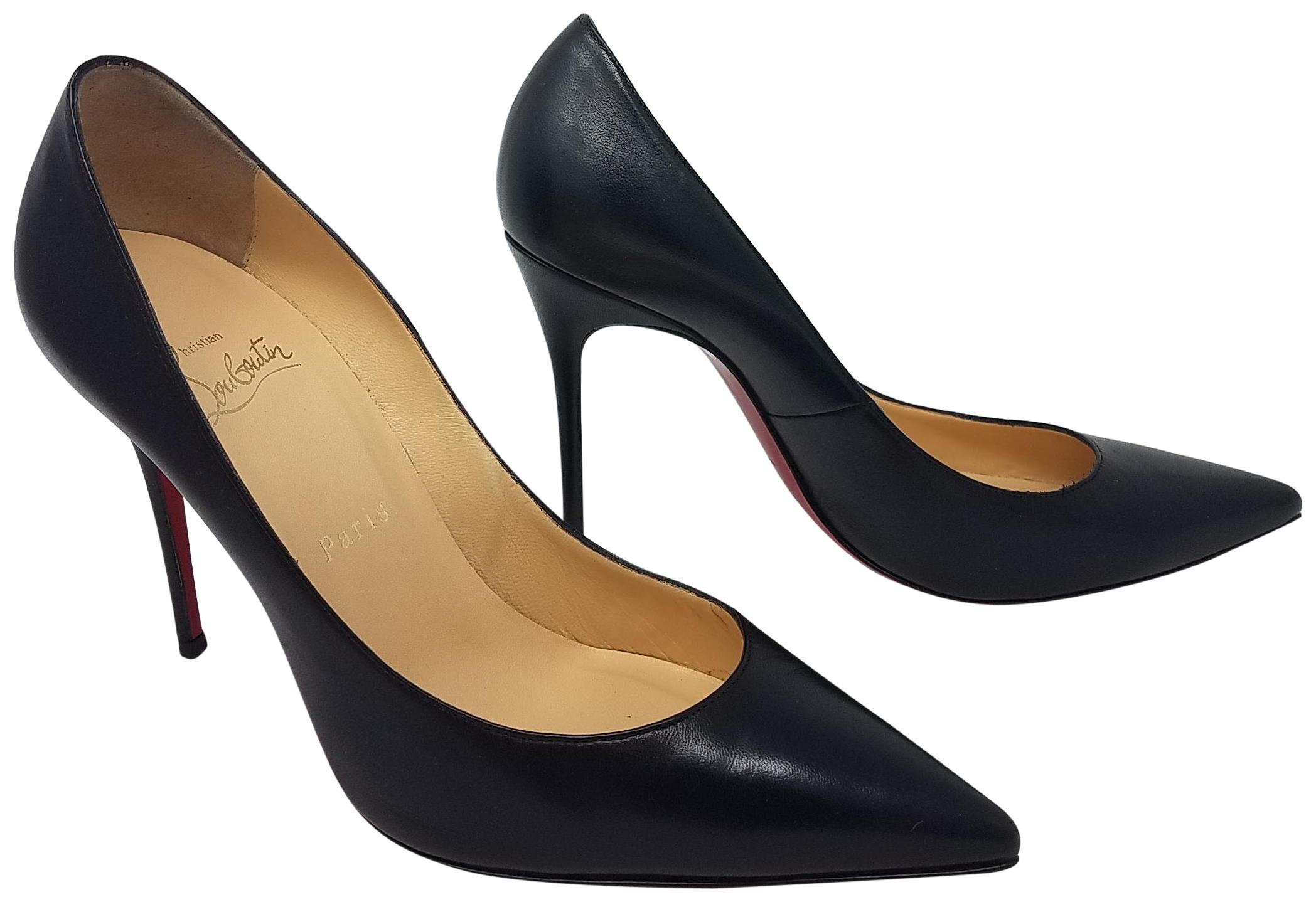 Christian Louboutin Black Leather Decollete 554 100 Stiletto Pumps Size EU 38.5 (Approx. US 8.5) Regular (M, B)