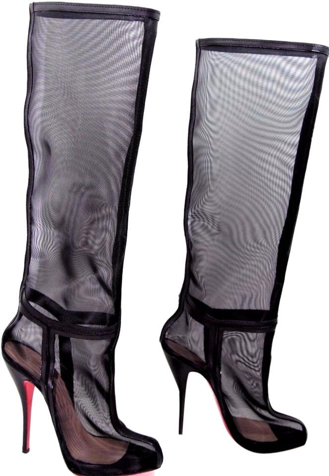 17228f5f8cc1 Christian Louboutin Black Madame Est Nue 36 Italy Mesh Leather Ankle Knee  High Red Sole Toe