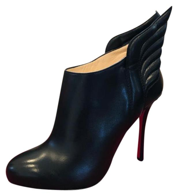 Christian Louboutin Black Mercura Wing Leather Ankle Heels 37 Boots/Booties Size US 7.5