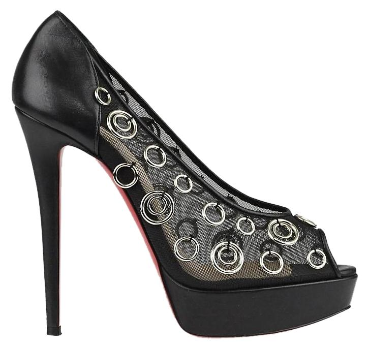 Christian Louboutin Black Mesh Silver Ring Platform Pumps Size EU 39 (Approx. US 9) Regular (M, B)