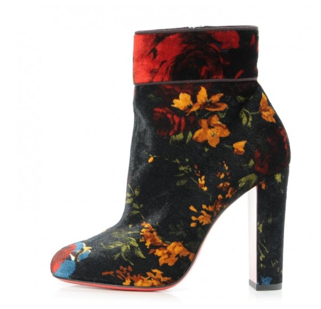 5f314ba4b9538 Christian Louboutin Black Moulamax Moulamax Moulamax 100 Red Velvet Floral  Heel 39.5 Boots Booties Size EU 39 (Approx. US 9) Regular (M