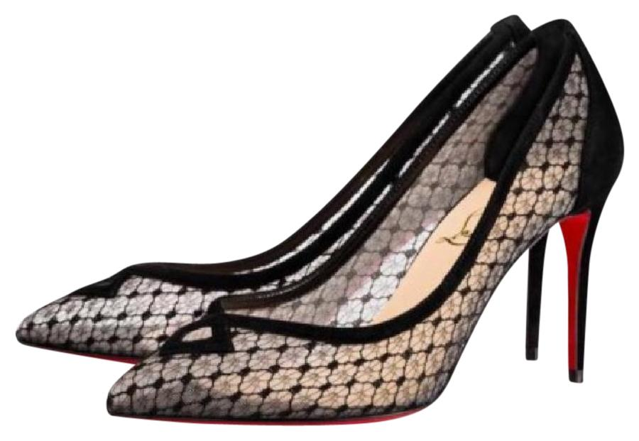 Christian Louboutin Black Neoalto Suede Mesh Dentelle Stiletto Pumps Size EU 37.5 (Approx. US 7.5) Regular (M, B)