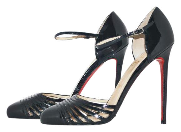 Christian Louboutin Black New En Passant Patent High Heel Red Lady Fashion Pigalle Sandal Pumps Size US 9.5 Regular (M, B)