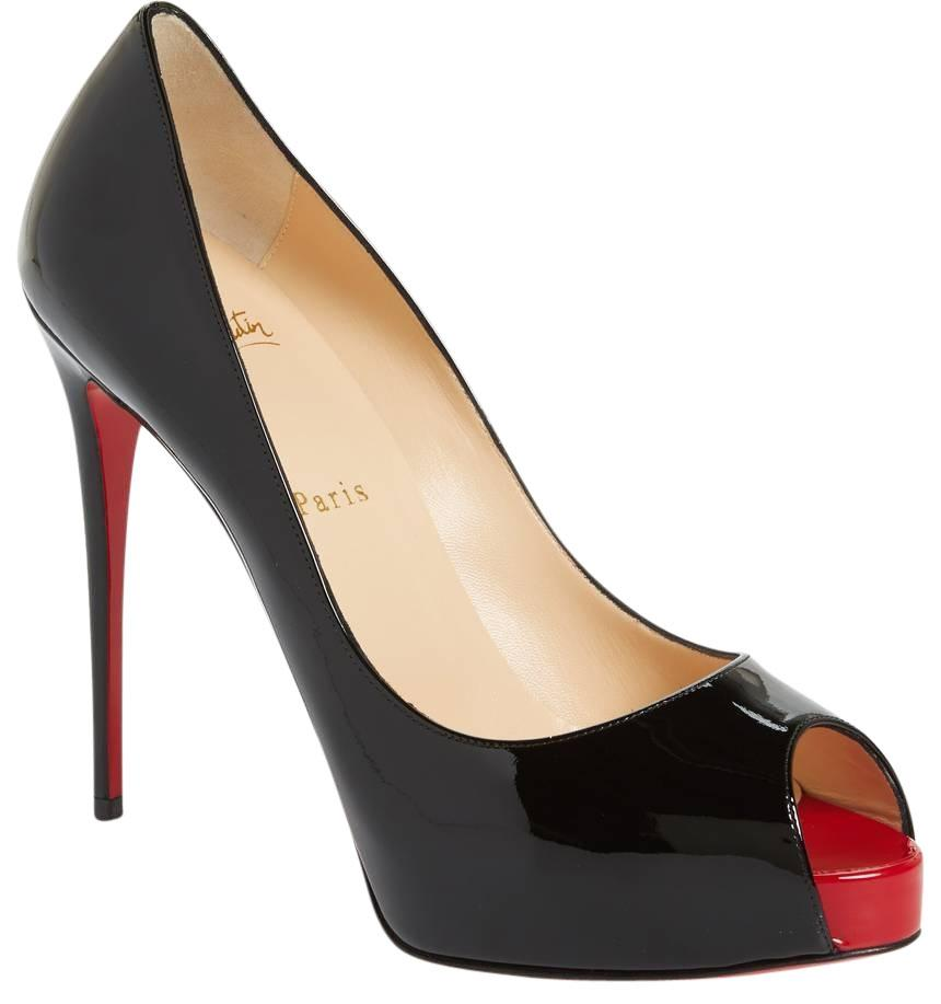 Christian Louboutin Black New Very Prive 120 Patent Leather Peep Toe 40 Pumps Size US 10 Regular (M, B)