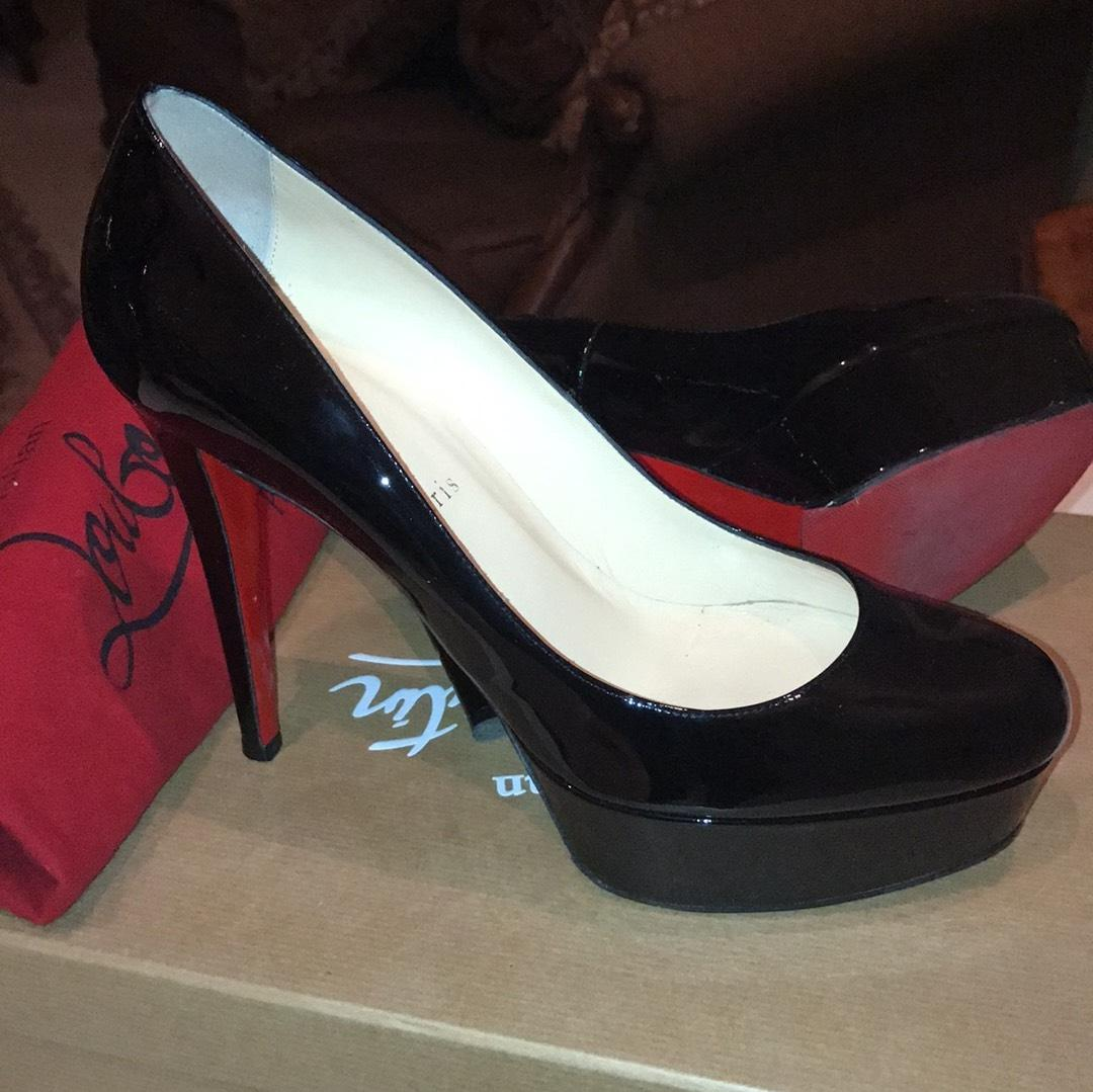 47ff71fd24a Christian Louboutin Black Patent Bianca 120 Leather Platforms Size ...
