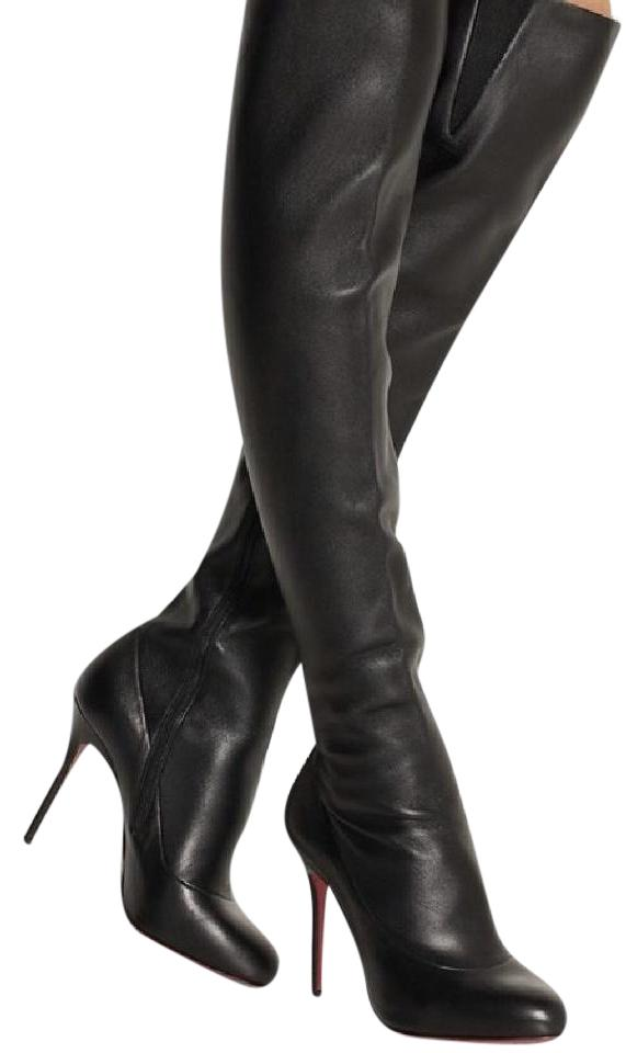 Christian Louboutin Black Sempre Monica 100 Leather Over-the-knee Boots/Booties Size EU 40.5 (Approx. US 10.5) Regular (M, B)