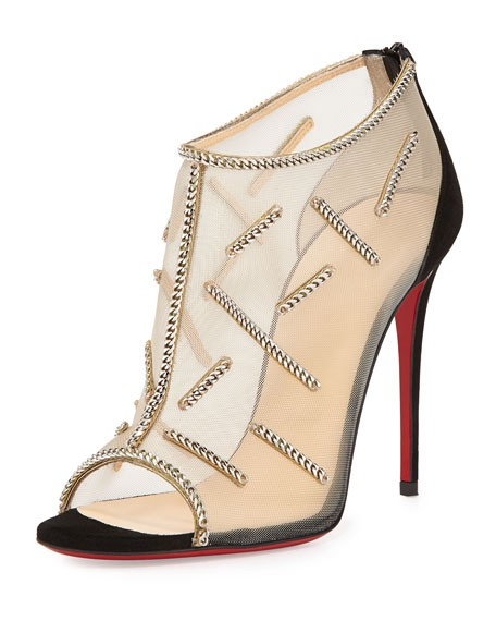 Christian Louboutin Black Signifiamma 100 Mesh Chain 38 Boots/Booties Size US 7.5 Regular (M, B)
