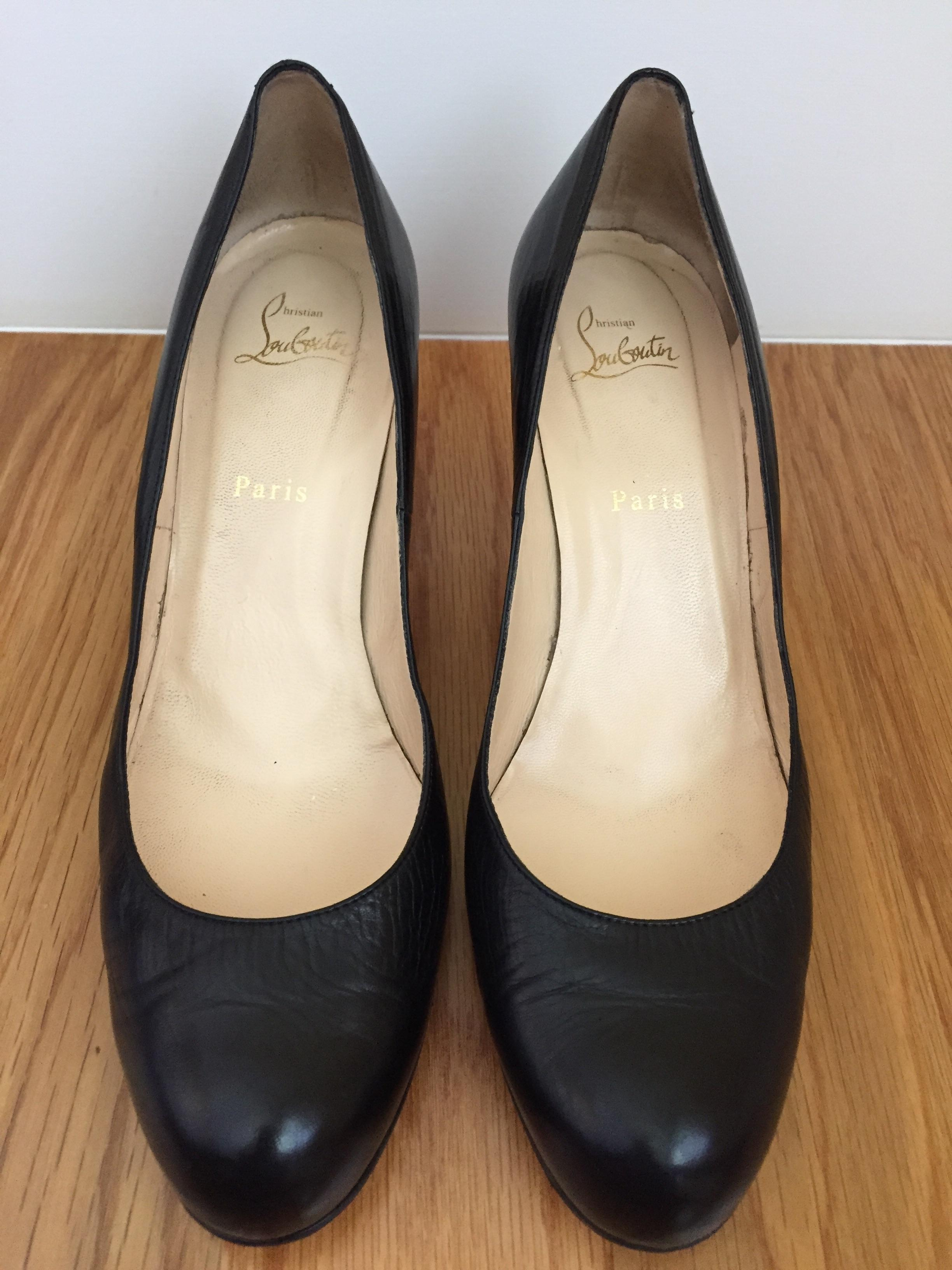 cheap for discount 875ff 9abe7 Christian Louboutin Black Simple 70mm Leather Pumps Size US ...