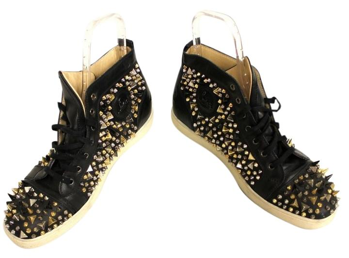 e47f29cc0adc ... Christian Louboutin Black Studded Leather Mens Sneakers Size US 12 12  12 c759fe ...