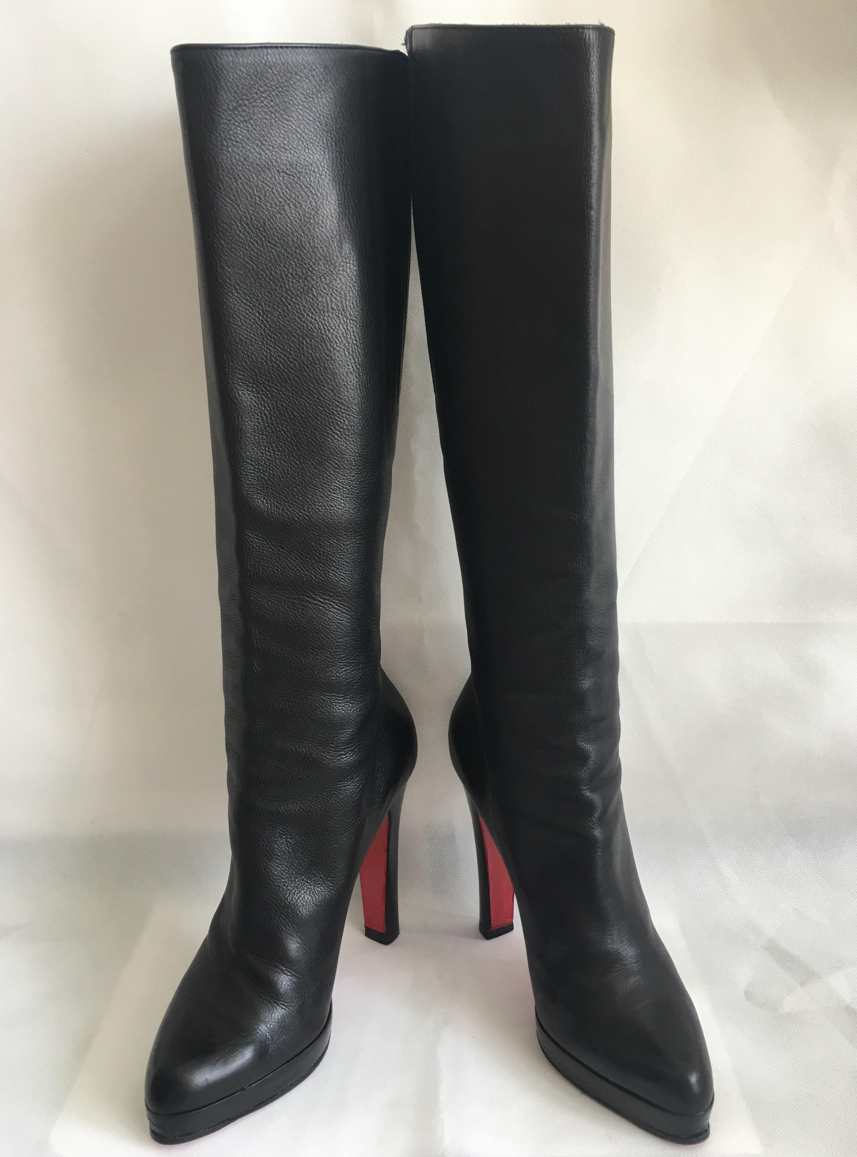 24dfb7b8ee81 ... Christian Louboutin Black Thigh High Heel Lady Red Red Red Sole 39.5  Italy Over Knee Leather ...