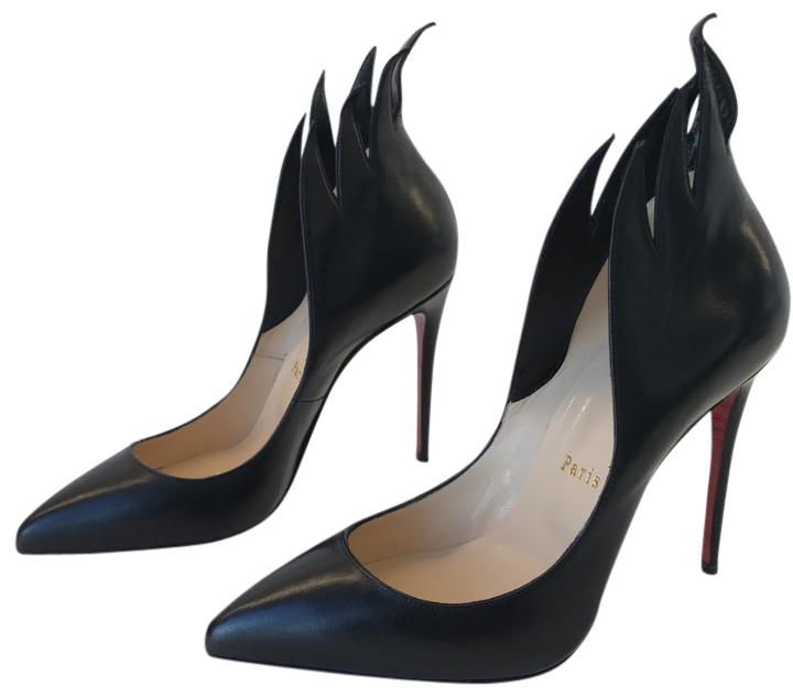 Christian Louboutin Black Victorina 100mm Flame Leather Heels Sz. 37 Euro Pumps Size US 7 Regular (M, B)