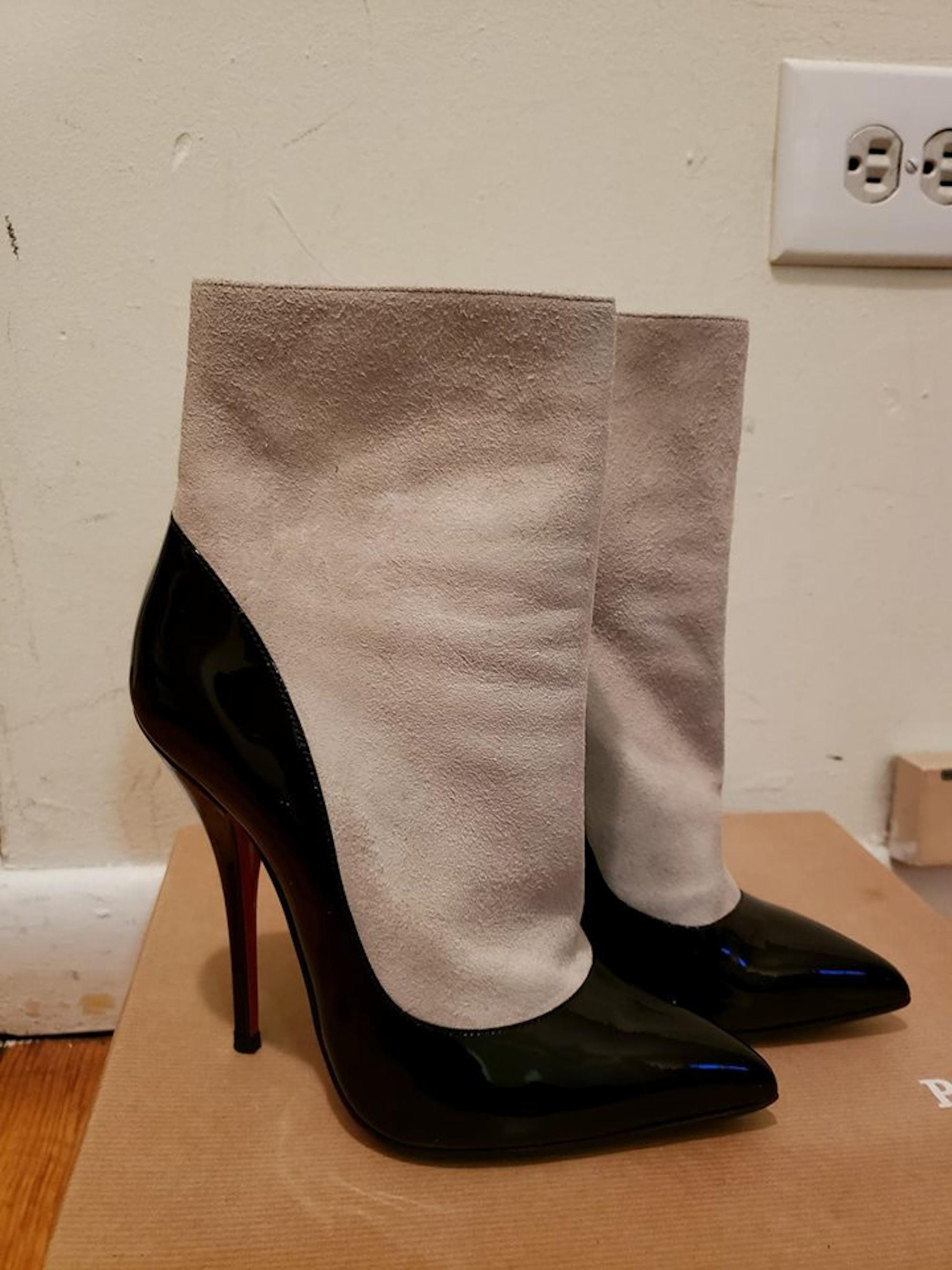 cb6730c43de ... Christian Louboutin Black Beige Patent Leather Suede Boots Booties Boots  Booties Boots ...