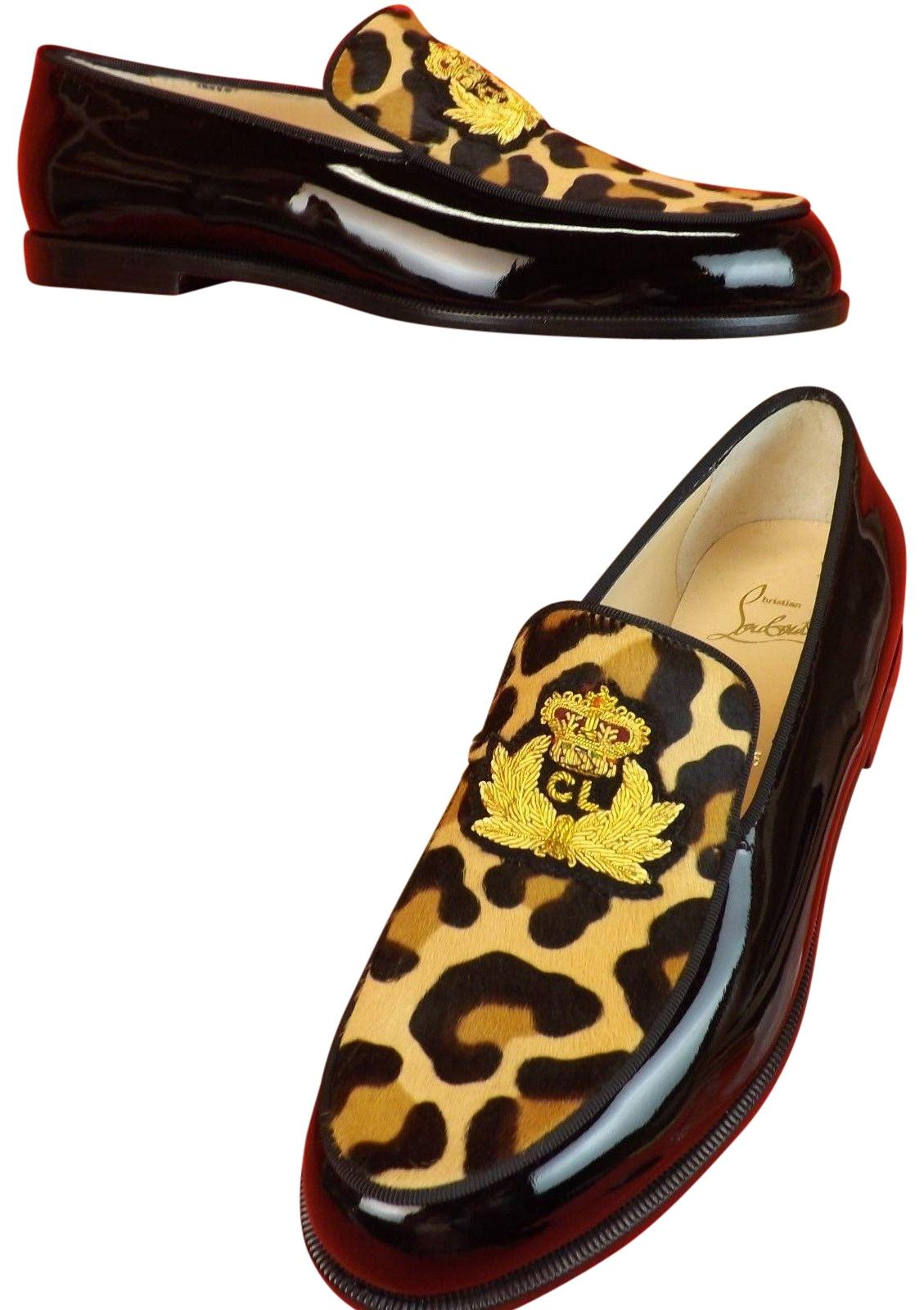 Christian Louboutin Black/Gold Laperouza Pony Hair Patent Leather Applique Loafers Flats Size EU 40 (Approx. US 10) Regular (M, B)
